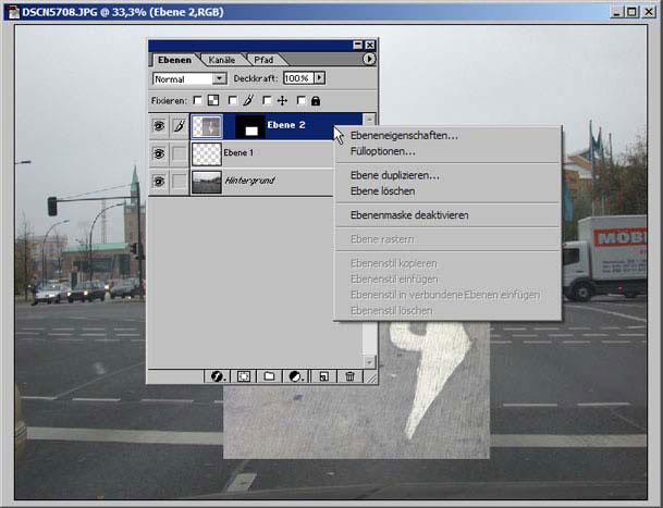 Arbeiten in einem Auswahlbereich von Adobe Photoshop 12.10