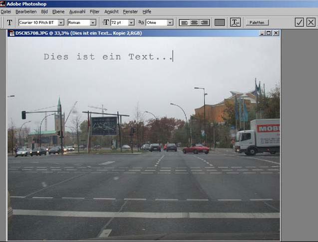 Schrift ins Foto mit Adobe Photoshop einfuegen 14.2