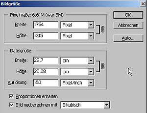 Bildgröße aendern mit Adobe Photoshop 15.10