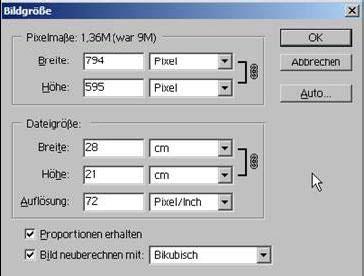 Bildgröße aendern mit Adobe Photoshop 15.11