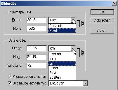 Bildgröße aendern mit Adobe Photoshop 15.3