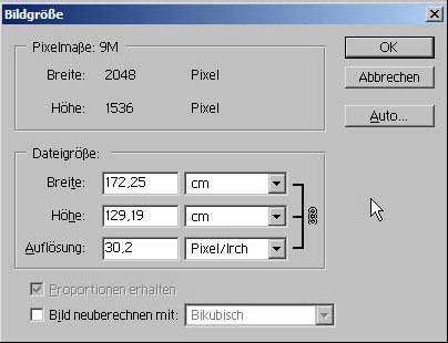 Bildgröße aendern mit Adobe Photoshop 15.7