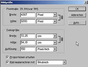Bildgröße aendern mit Adobe Photoshop 15.9