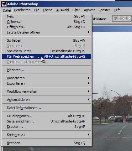 Bilder fuer das Web Internet speichern mit Adobe Photoshop 19.